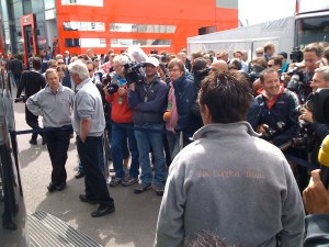 Media scrum waits for Mosley